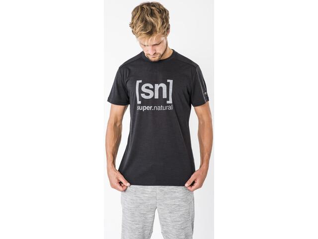 super.natural Essential I.D. Tee Herre jet black melange/vapor grey logo